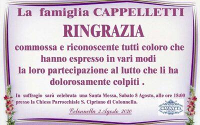 Ringraziamento della famiglia Cappelletti