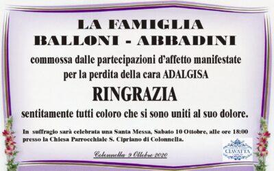 Ringraziamento della Famiglia Balloni