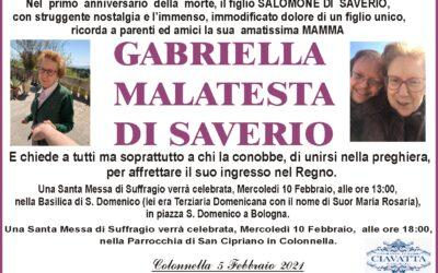 ANNIVERSARIO GABRIELLA MALATESTA DI SAVERIO