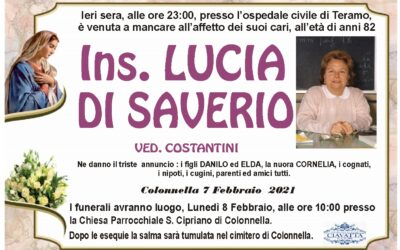 LUTTO INS. LUCIA DI SAVERIO