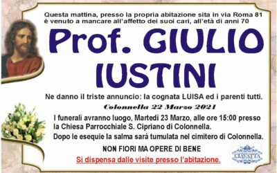 Lutto Prof. Giulio Iustini