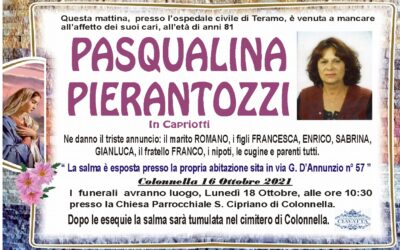 Lutto Pierantozzi Pasqualina